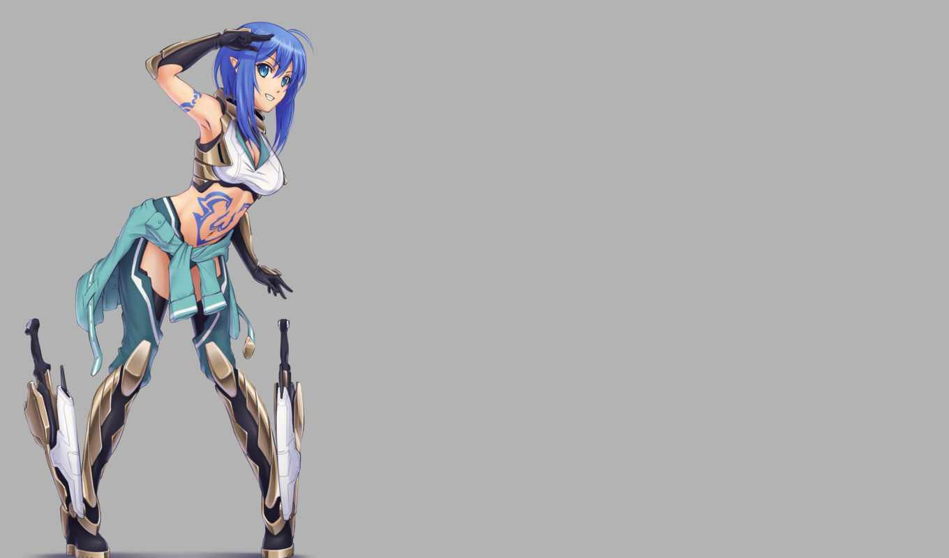 blue, hair, armor, eyes, gloves, tattoo, long, аниме, weapon, navel, изображение,