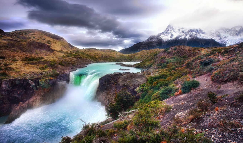 горы, пейзаж, природа, река, гор, снег, ледник, вода, водопад, пейзажи,