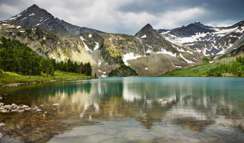 landscape, горы, гора, лес, wpapers, reservoir, совершенно,