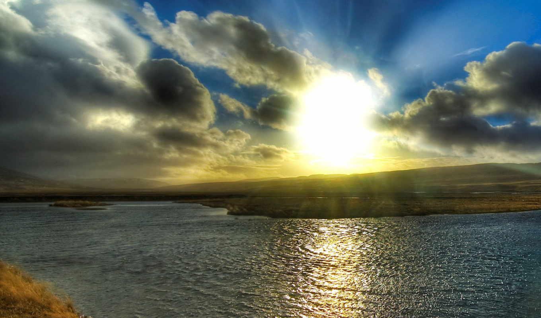 солнца, rising, со, красивый, рекой, anatol, восхода,
