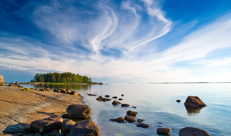 море, финляндия, oblaka, trees, небо, остров, bay, финляндии, картинка, камни,