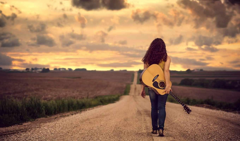 tapety, гитара, девушка, гитара, дорога, поле,