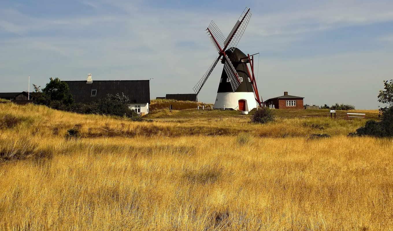 mill, поле, house, трава, небо, oblaka, пшеница,