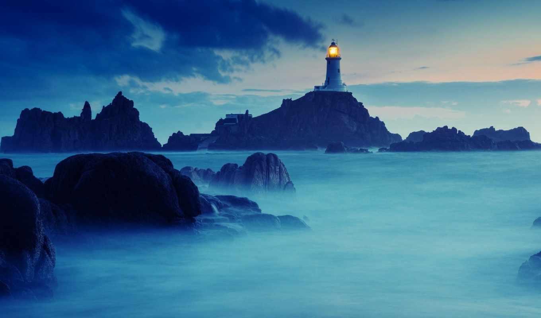маяк, природа, океан, камни, картинка,