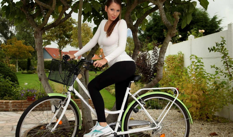 девушки, велосипед, девушка, ryan, lizzie, шатенка, белая, взгляд, блузка,