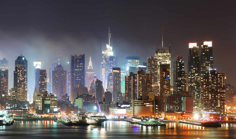 нью, new, йорк, йорка, виды, ночной,