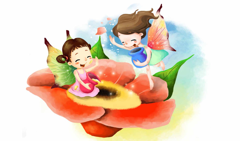 нарисованные, дети, девочки, цветы, феи, лепестки, небо