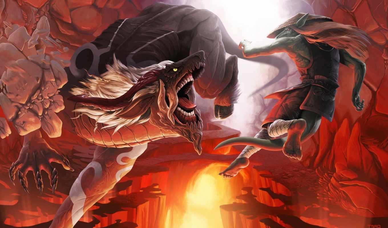 art, крыса, демон, монстры, пещера, tsaoshin, камни, битва,