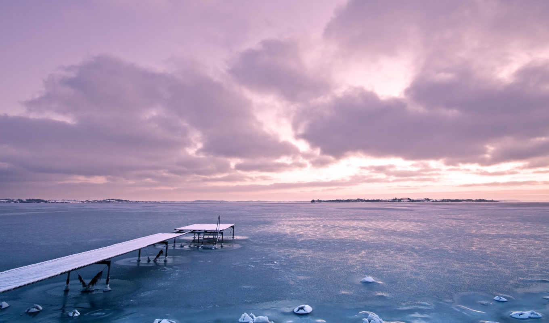 небо, закат, фиолетовый, восход, clouds, облако, ocean, природа, озеро,