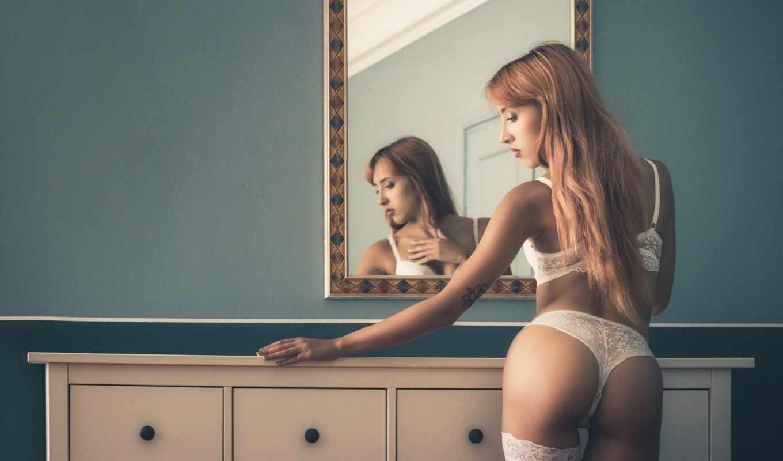 , белое белье, блондинка, секси