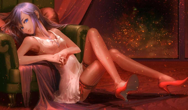 девушка, чулки, кресло, туфли, сидя, арт, yuanmaru, искры, аниме, картинка,