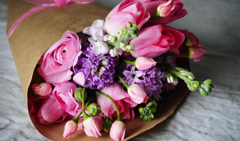 букет, лютики, тюльпаны, розовые,