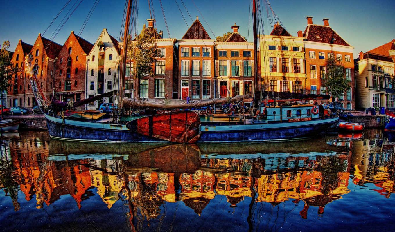 нидерланды, города, река, гронинген, набережная,