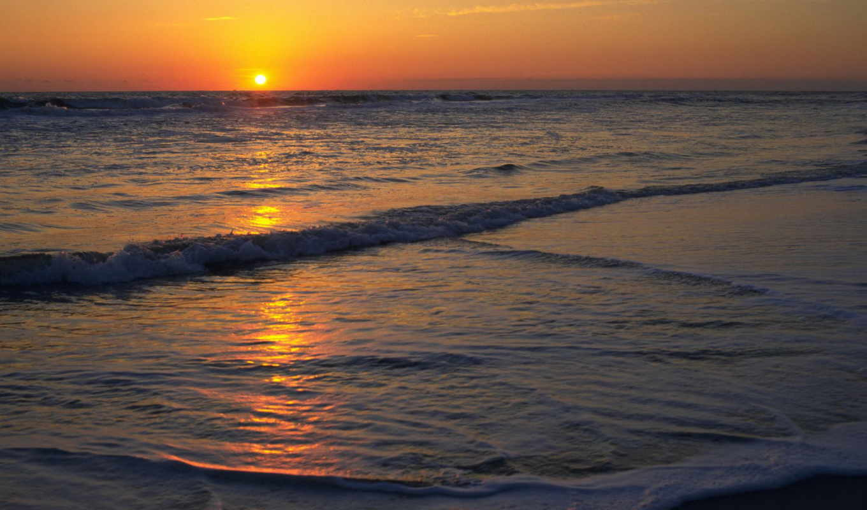 море, солнце, природа, закат, горизонт, пляж,