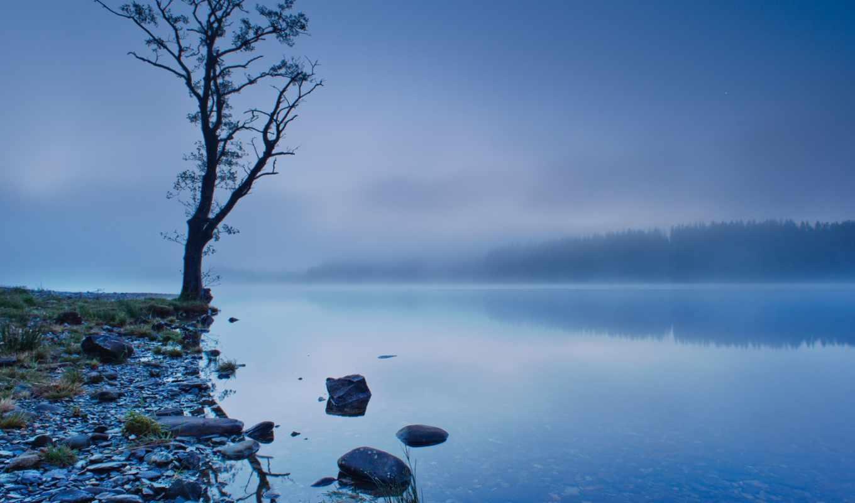 озеро, шотландия, великобритания, отражение, берег, картинка,