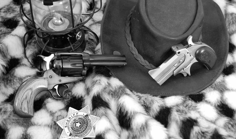 оружие, пистолеты, револьвер, однозарядный, звезда, шериф, фонарь, шкура, шшляпа, черно-белый