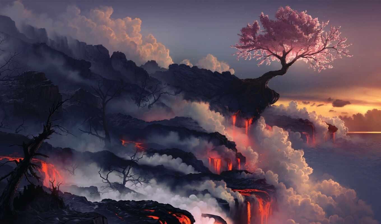 Сакура, краю, цветущая, вулкана, лава, нов, landscape, вулкан, дек, скалы, art,