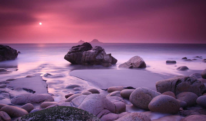 море, закат, камни, высоком, разных, разрешениях, вид, фиолетовое,