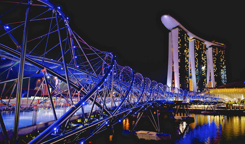 марина, bay, sands, мост, helix, singapore,