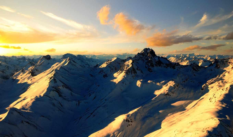 горы, снег, скалы, красивые, вершины,