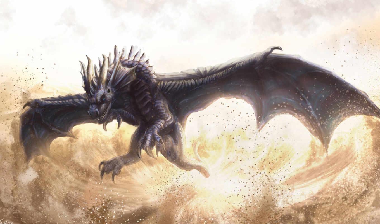 дракон, полет, пыль, вихрь,