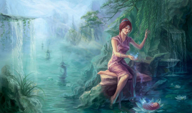 девушка, лес, водоём, арт, речка, водопад, картинка, работы, работ, xuan, zi, магия, младенец, hrfleur,