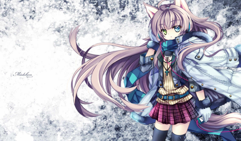 аниме, шарф, девушка, картинка, eyes, lin, capura, headphones, animal, ears,