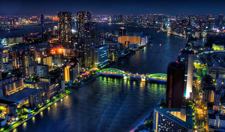 токио, city, река, ночь, вид, сверху, освещение, ночное, like, картинку,