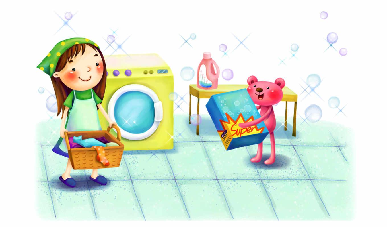 нарисованные, девочка, медвежонок, стирка, корзина, стиральный порошок, улыбка, стиральная машина