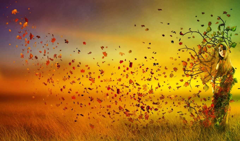 ,осень, девушка, природа, листья, закат