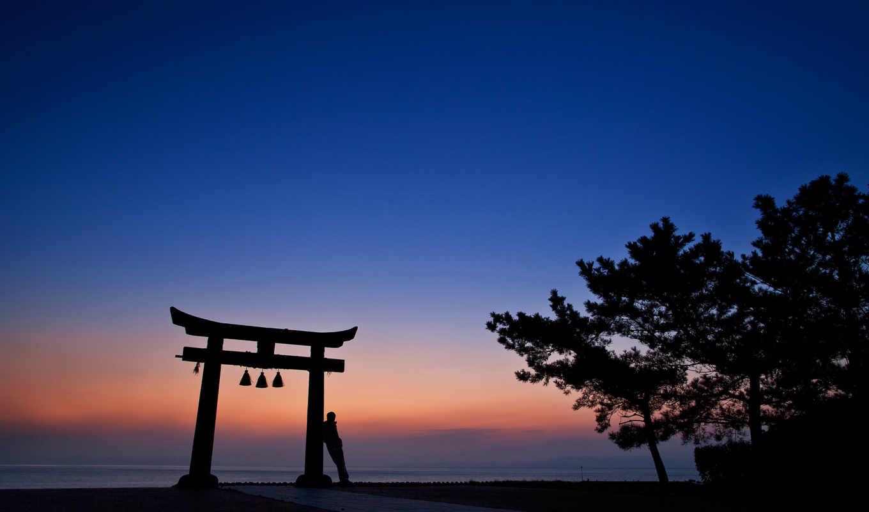 оранжевый, синее, вечер, закат, япония, небо, деревья, архитектура, силуэт, человек, арка,