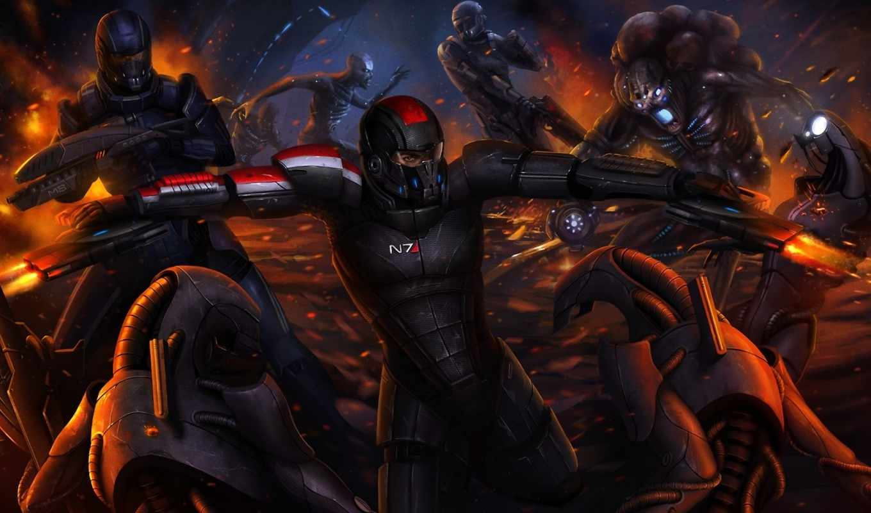 mass, effect, битва, шепард, капитан, жнецы, арт, робот,