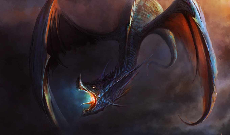 крылья, пасть, арт, дракон, картинка, вертикали, имеет, горизонтали,