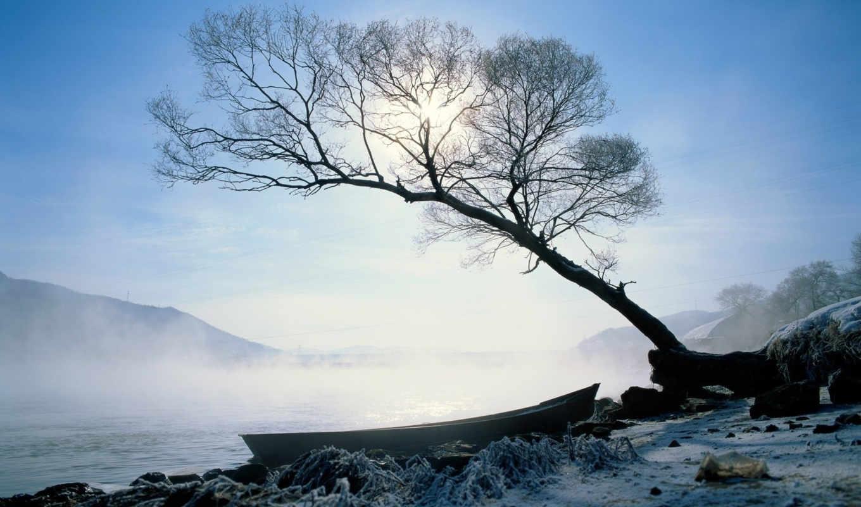 лодка, берег, солнце, природа, пейзажи, изгиб, мороз, туман, река, холод, зима,