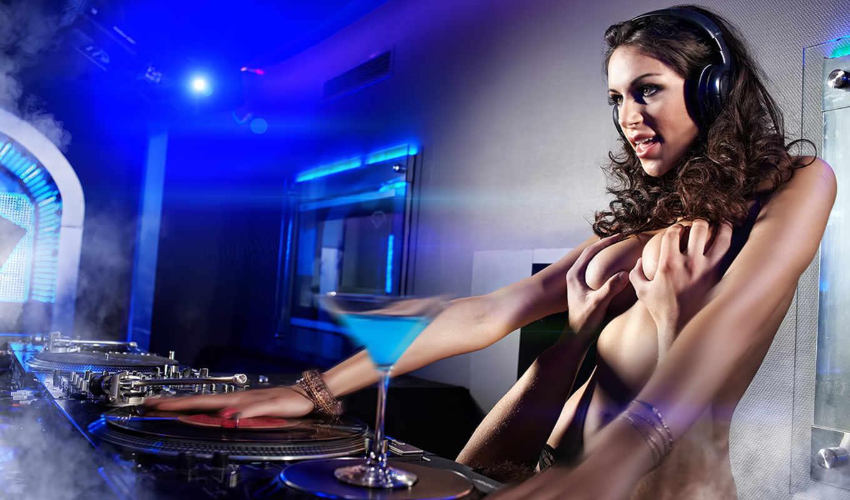девушки, дискотека, музыкальные, коктейль, разрешением, наушники, rаzoomovsky,
