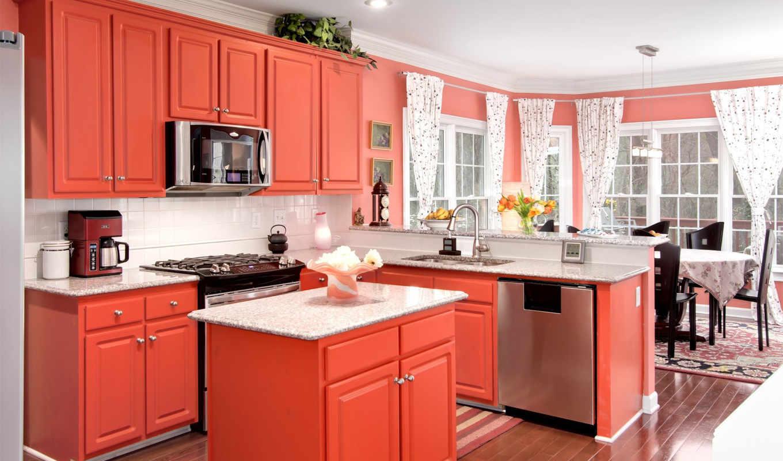,кухня, медель, красная,