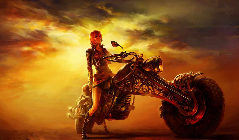 мотоцикл, рисунок, девушка, закат, вечер, дорога,
