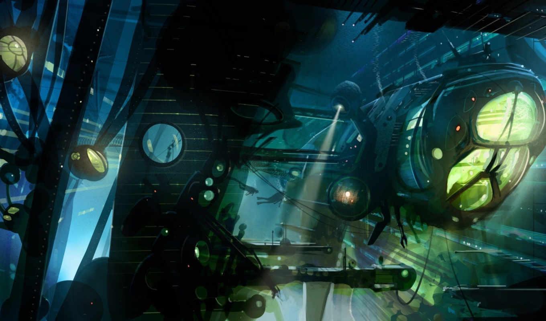 abyss, корабль, art, прожектора, аквалангисты, underwater, картинка, июнь, game, фантастика,