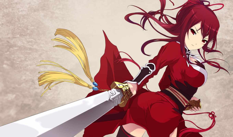 anime, девушка, платье, красном, she, красное, rising, bloody, клана,