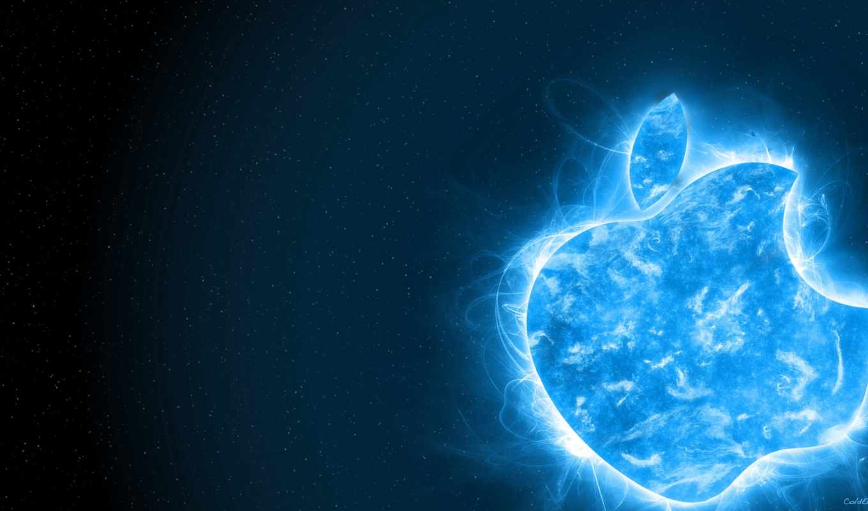 apple, cubes, logo, desktop, mac, blue, plazma, space