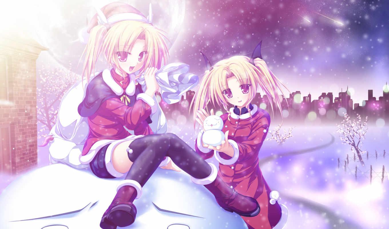 зима, снег, девушки, новый, деревья, луна, год, кометы, мешок, город, снеговик, праздник, аниме,