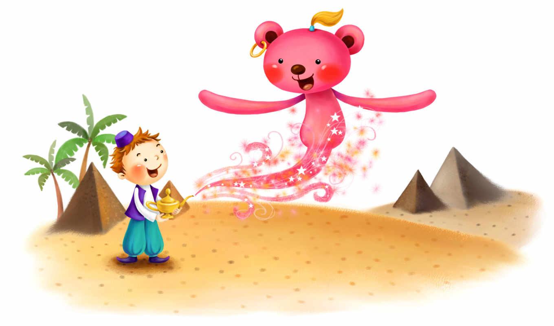нарисованные, алладин, джинн, медведь, песок, пустыня, пирамиды, пальмы