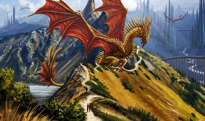 драконы, art, дракон, фэнтези, люди, горы, fantasy, мост,