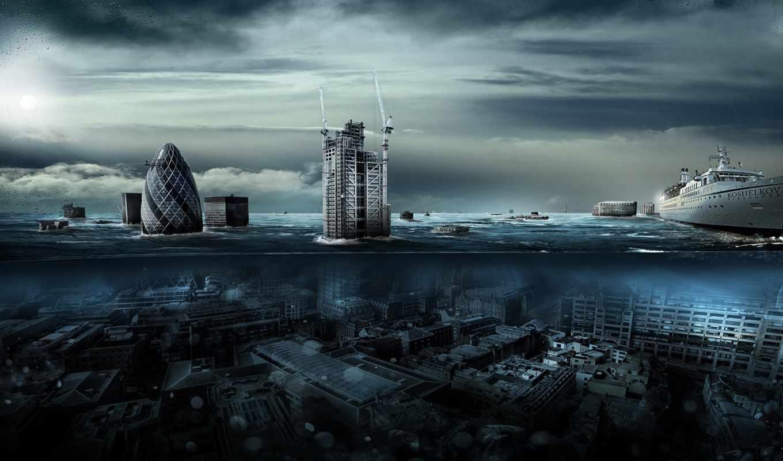 апокалипсис, город, потоп, романтика, фантастика, апокалипсиса, click, июня, большое, широкоформатные, london,