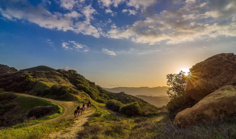 topanga, природа, california, всадники, закат, landscape, калифорния, ковбои, небо,