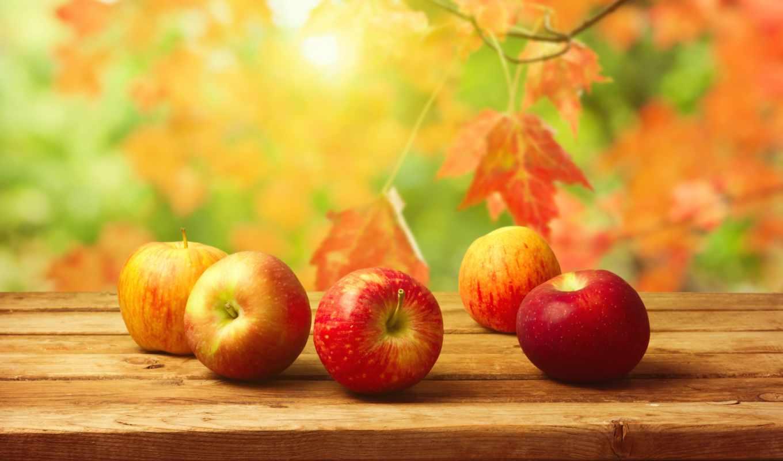 осень, яблоки, фрукты, листва,