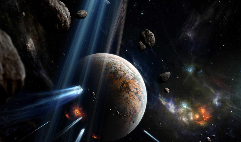 space, meteors, art, планета, explosion, астероиды, desktop,
