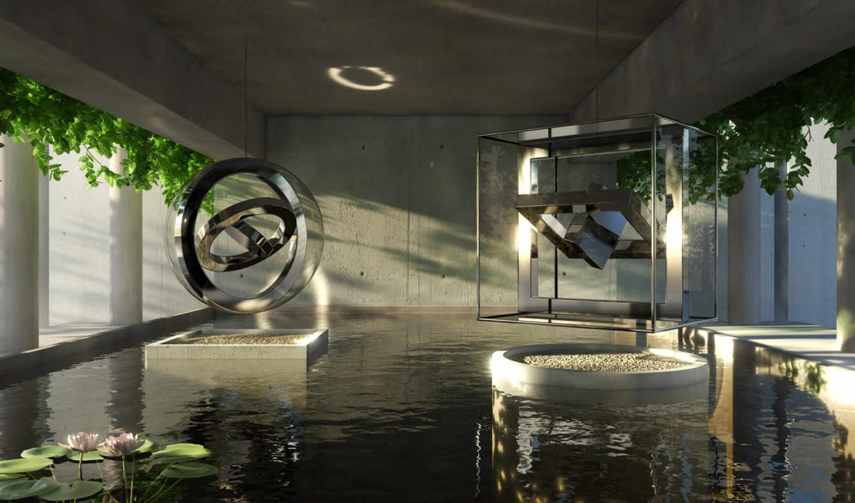 комната, вода, бассейн, футуристичная,
