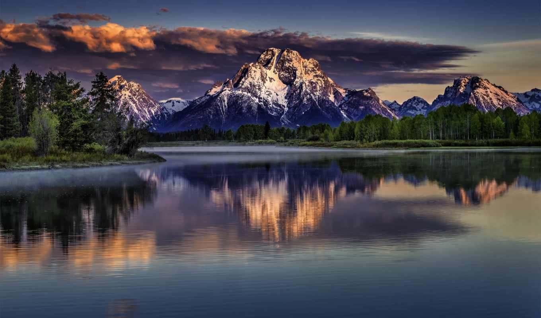 teton, park, grand, national, природа, wyoming, горы, пейзаж, mount, озеро, moran, snake, river, природы,