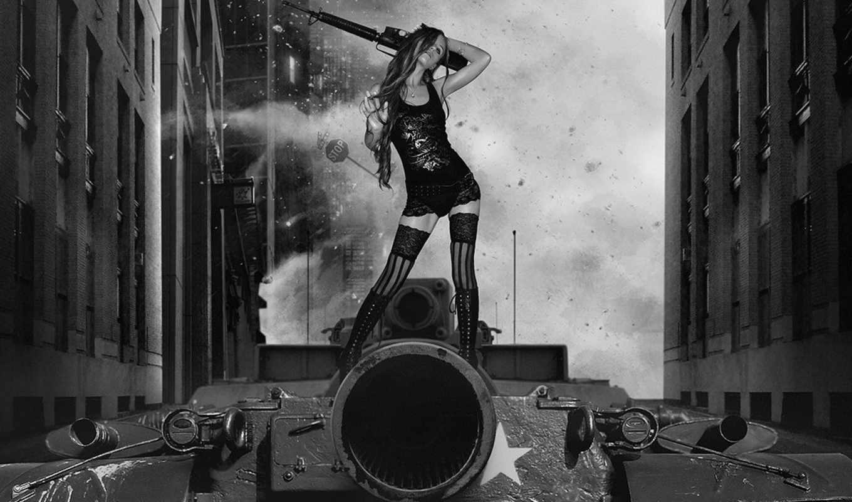 оружие, танк, девушка, девушки,